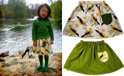 Reversible Bird Seed Skirt in Lemongrass by Grosgrain